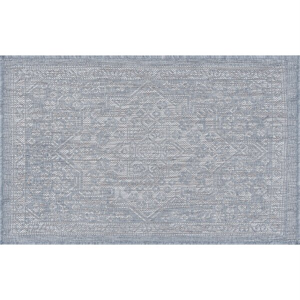 Speegle Traditional Medallion Gray Indoor/Outdoor Area Rug by Bungalow Rose
