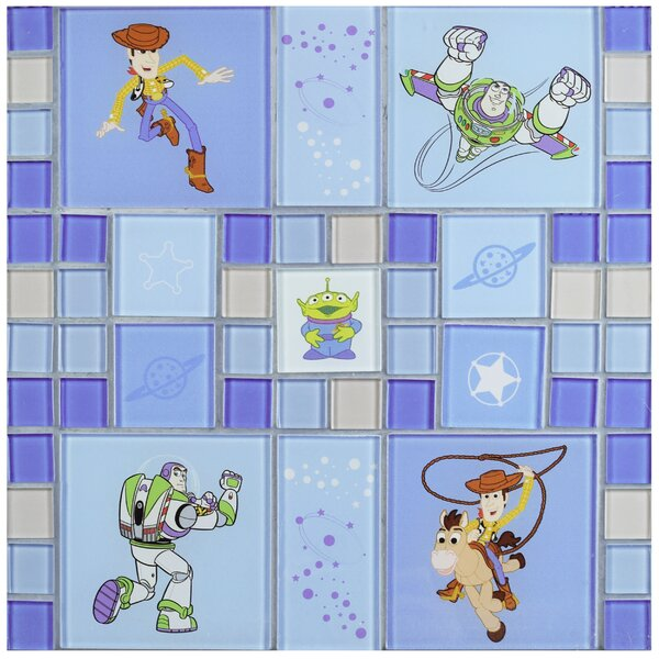 Disney Toy Story Random Sized Glass Mosaic Tile in Blue by EliteTile