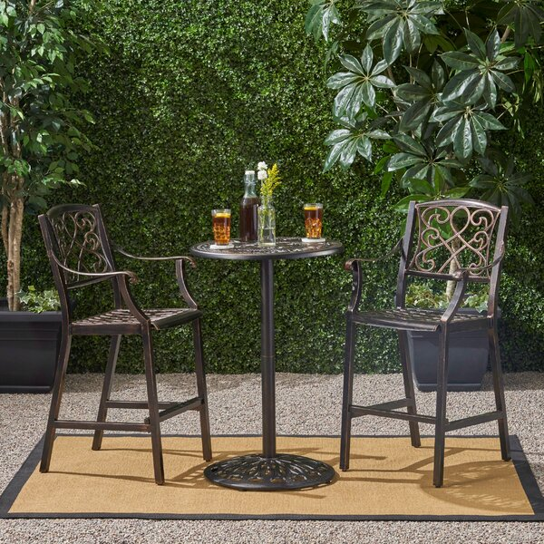 Hewlett Outdoor Circular 3 Piece Bistro Set by Charlton Home