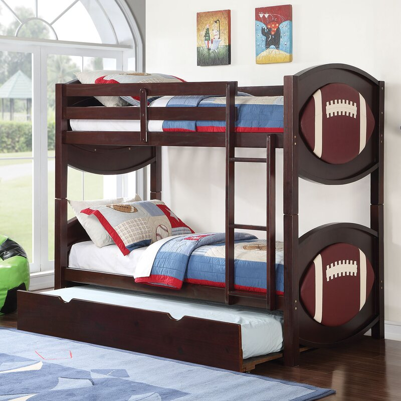 All Star Football Twin Over Twin Bunk Bed With Trundle