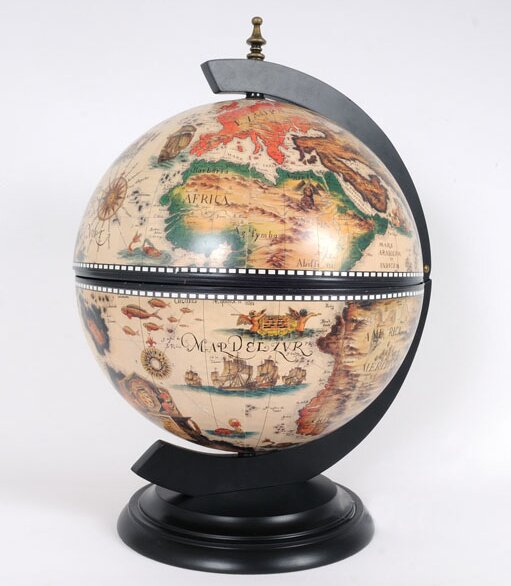 White Globe with Chess Holder by Old Modern Handicrafts