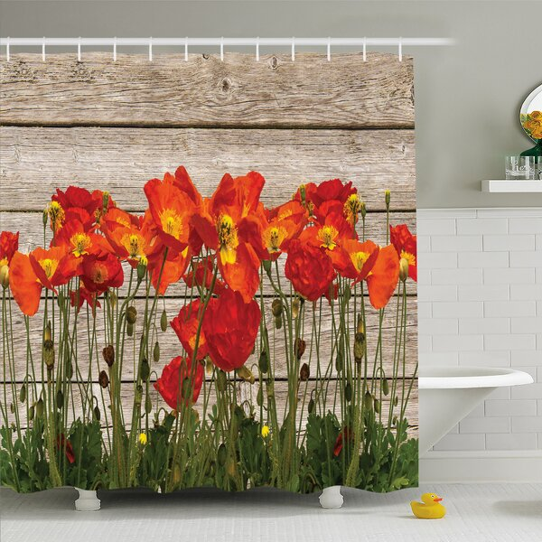 Rustic Home Poppy Petals Field Meadow Summer Sun Plant Floral Shower Curtain Set by Ambesonne