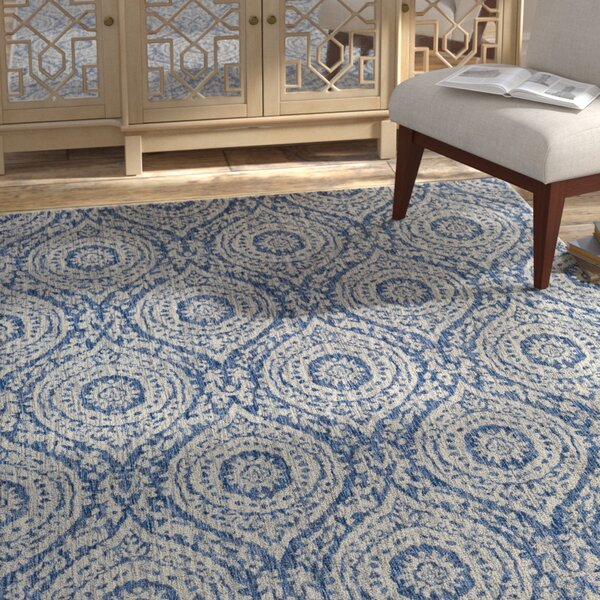 Fonwhary Floral and Plants Denim Indoor/Outdoor Area Rug by Bungalow Rose