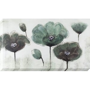 Teal and Gray Poppy Field Painting on Wrapped Canvas by Latitude Run