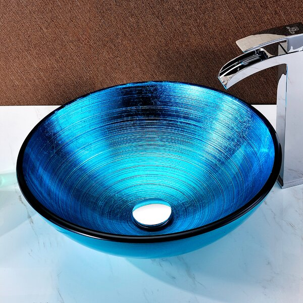Enti Glass Circular Vessel Bathroom Sink by ANZZI