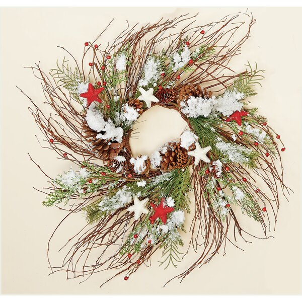 Snowy Twig Wreath with Stars by The Holiday Aisle