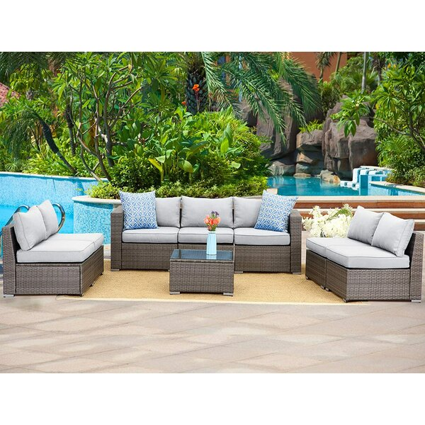 Adriyan Outdoor 8 Piece Rattan Sectional Seating Group with Cushions by Latitude Run