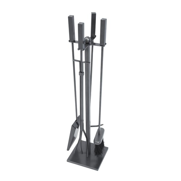 Atticus 4 Piece Steel Fireplace Tool Set by Pleasant Hearth