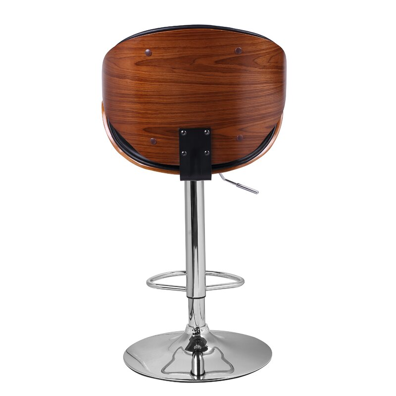 Bentwood Leather Adjustable Height Swivel Bar Stool