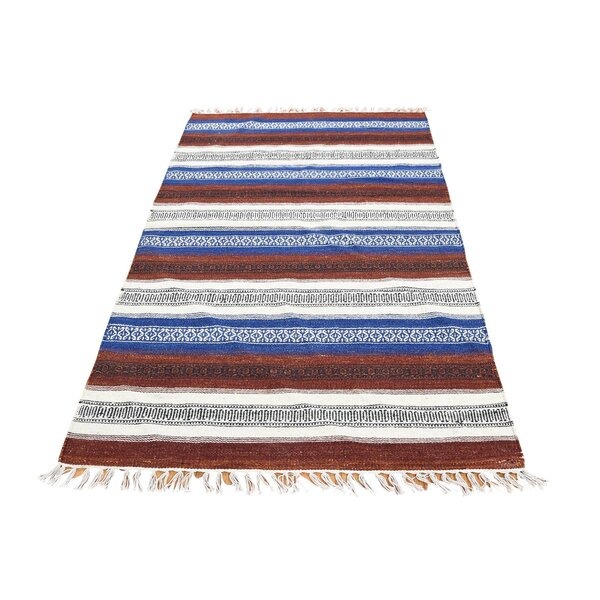One-of-a-Kind Espalda Reversible Kilim Oriental Hand-Knotted Brown Area Rug by Millwood Pines