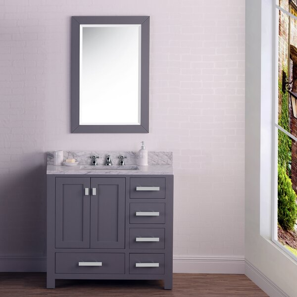 Clemons 36 Cashmere Single Bathroom Vanity Set with Mirror by Ebern Designs