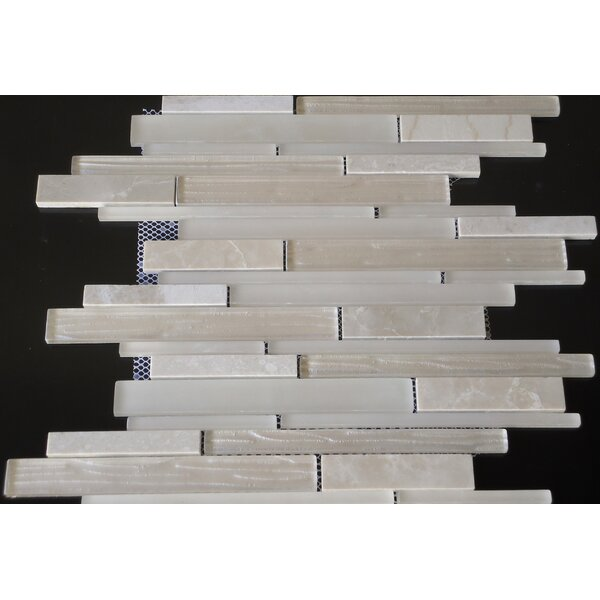 Loft Random Sized Marble and Glass Mosaic Tile in Glossy Cream by Mulia Tile