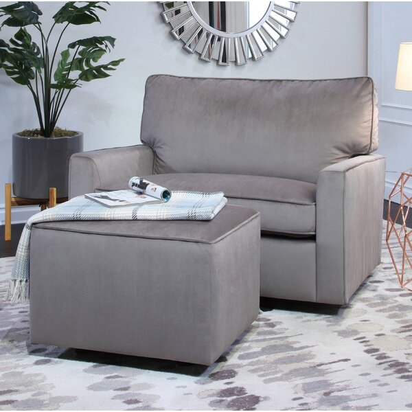 Craner Oversized Glider Chair and Ottoman by Harriet Bee