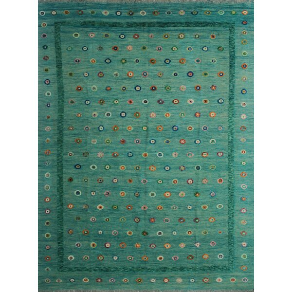 Creola Hand-Knotted Wool Green Area Rug by Bungalow Rose