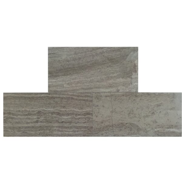 3 x 6 Natural Stone Field Tile in Wood Ash by Mulia Tile