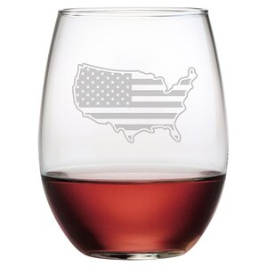 Flag Map 21 oz. Stemless Wine Glass (Set of 4)