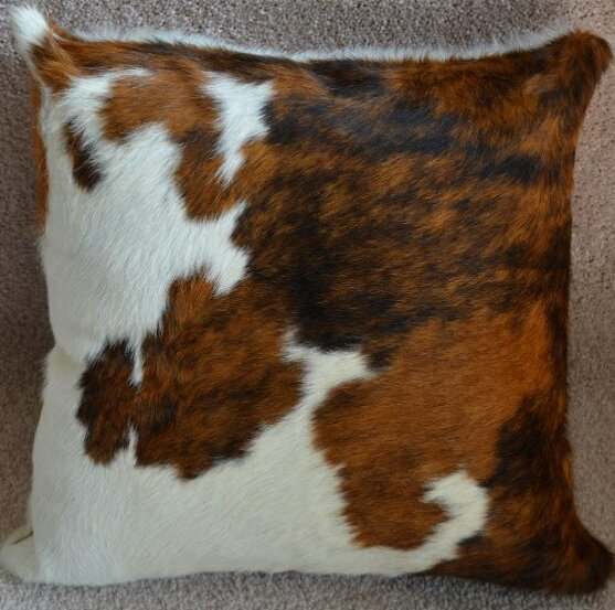 Tricolor Cowhide Throw Pillow by Pergamino