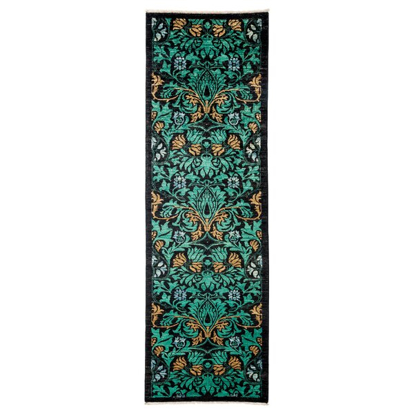One-of-a-Kind Arts and Crafts Hand-Knotted Green / Black Area Rug by Solo Rugs