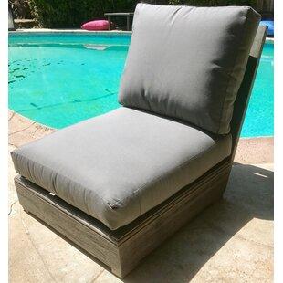 Yandell Teak Patio Armless Chair with Sunbrella Cushion By Brayden Studio