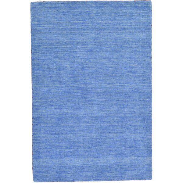 Langham Hand-Knotted Wool Light Blue Area Rug by Beachcrest Home