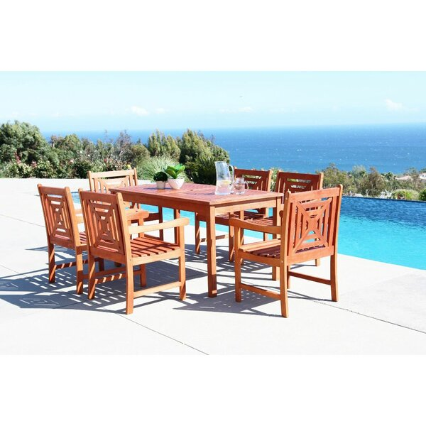 Monterry 7 Piece Rectangular Eucalyptus Wood Dining Set by Beachcrest Home