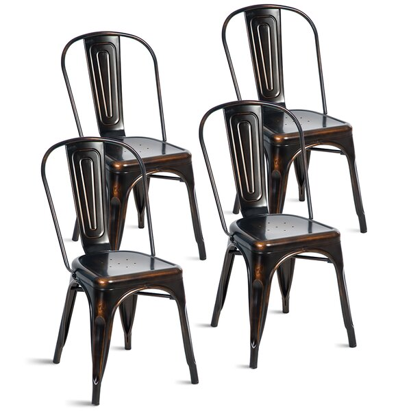 Review Bejou Metal Slat Back Stacking Side Chair In Distressed Black (Set Of 4)