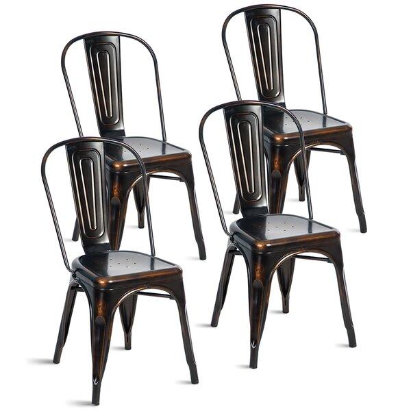 Deals Bejou Metal Slat Back Stacking Side Chair In Distressed Black (Set Of 4)
