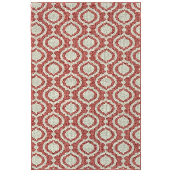 Penman Sophisicate Tufted 4 x 6 Coral/Ivory Indoor/Outdoor Area Rug