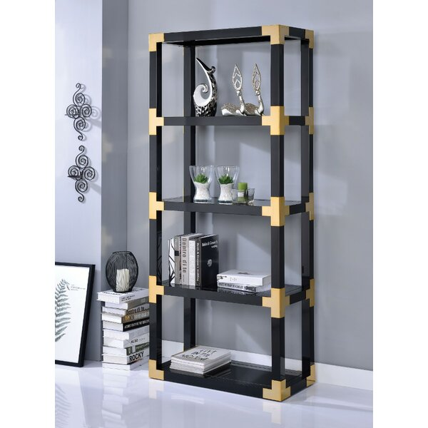 Gathers Metal Glass Standard Bookcase by Everly Quinn