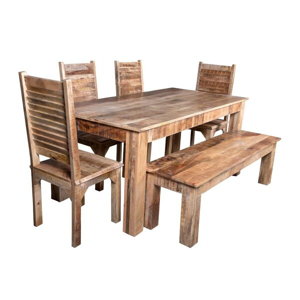 Kamps 6 Piece Solid Wood Dining Set by Bloomsbury Market