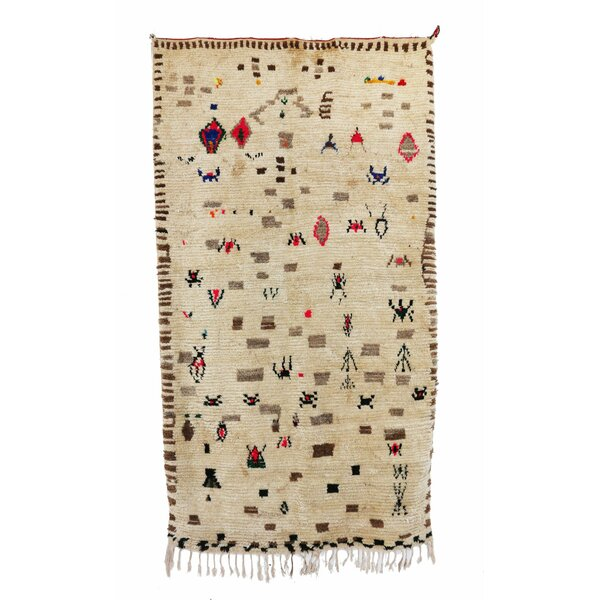 Azilal Vintage Moroccan Hand Knotted Wool Beige/Brown/Red Area Rug by Indigo&Lavender