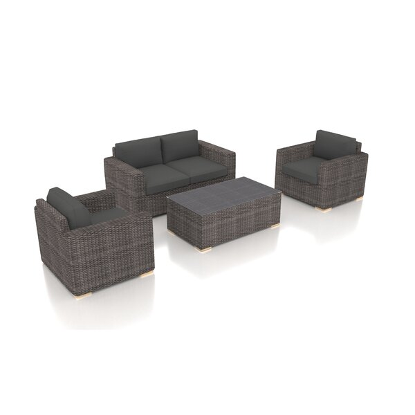 Holcomb 4 Piece Rattan Sofa Seating Group with Sunbrella Cushions by Rosecliff Heights