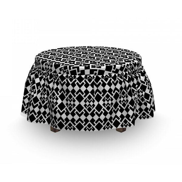 Abstract Triangle Shapes Geometric 2 Piece Box Cushion Ottoman Slipcover Set By East Urban Home