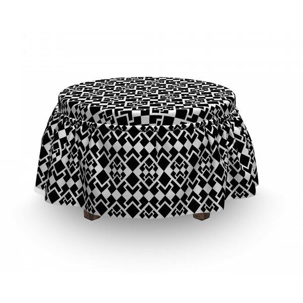 Price Sale Abstract Triangle Shapes Geometric 2 Piece Box Cushion Ottoman Slipcover Set