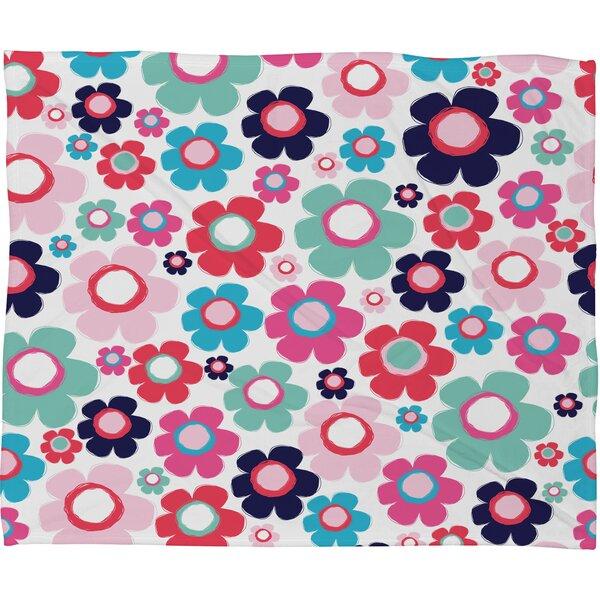 Ali Benyon Indigo Flowers Fleece Throw Blanket by Deny Designs