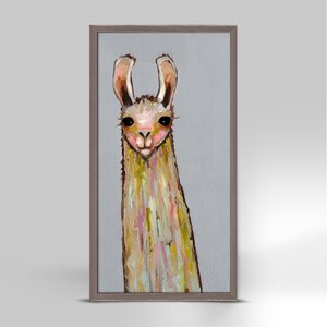 'Baby Llama on Gray' by Eli Halpin Framed Print of Painting by GreenBox Art