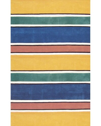 Beach Rug Bright Yellow Ocean Stripes Area Rug by American Home Rug Co.