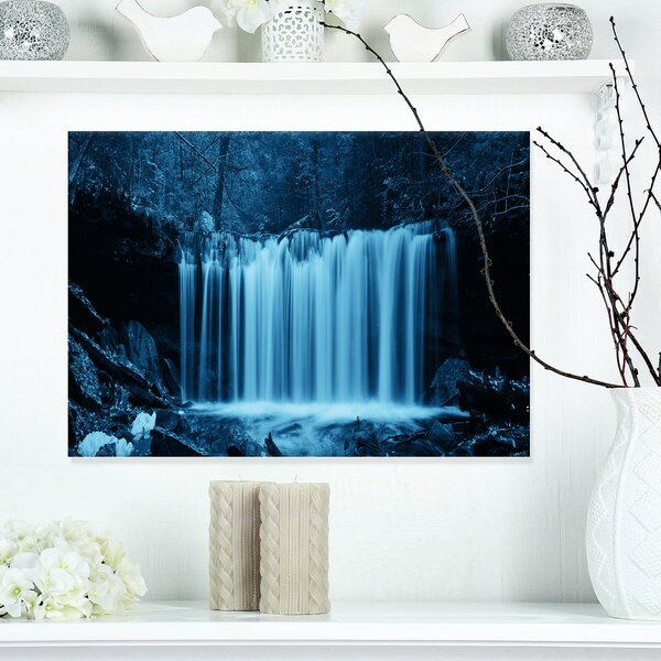 Waterfalls in Wood Black and White Photographic Print on Wrapped Canvas by Design Art