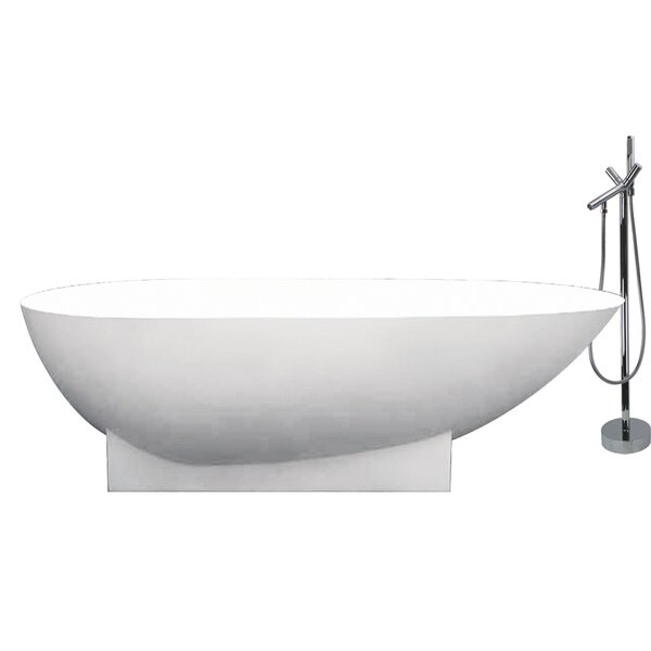 Shea 72 x 36 Freestanding Soaking Bathtub by Transolid