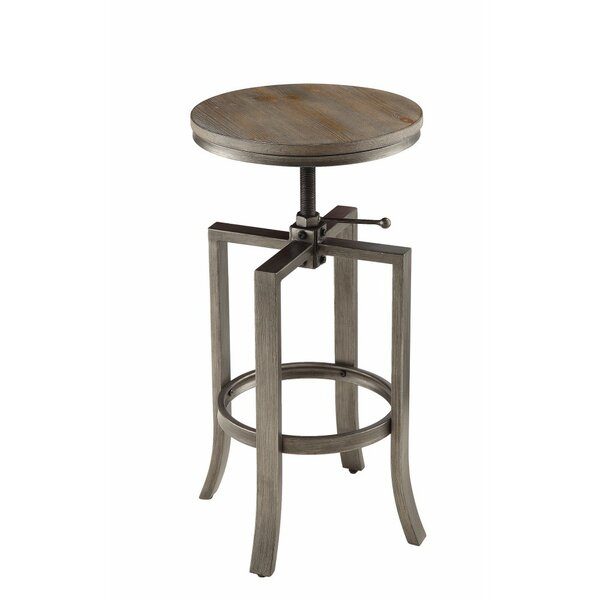 Marist Round Chic Adjustable Height Swivel Bar Stool (Set of 2) by Gracie Oaks