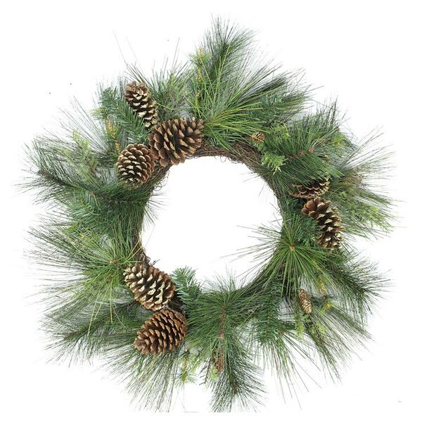 Artificial Mixed Pine with Pine Cones and Glitter Christmas Wreath with Unlit by Northlight Seasonal