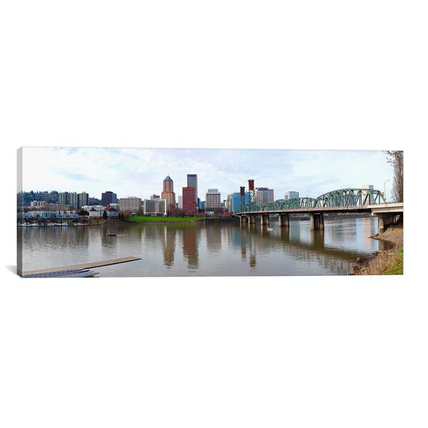 Panoramic Bridge across a River with City Skyline in The Background, Willamette River, Portland, Oregon 2010 Photographic Print on Canvas by iCanvas
