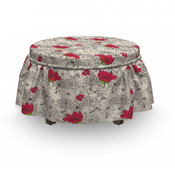 Blossoming Spirng Botany Ottoman Slipcover (Set Of 2) By East Urban Home
