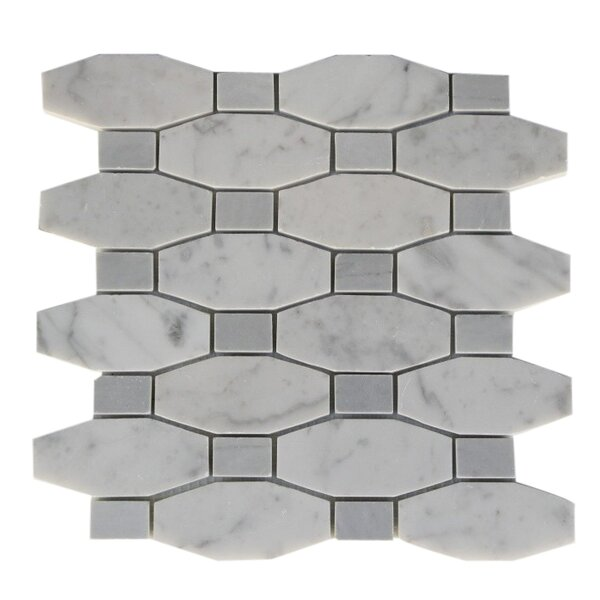Diapson Dot Random Sized Marble Mosaic Tile in White Carrara/Light Bardiglio by Splashback Tile