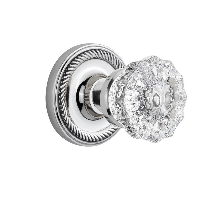 Delightful Crystal Glass Double Dummy Door Knob With Rope Rosette