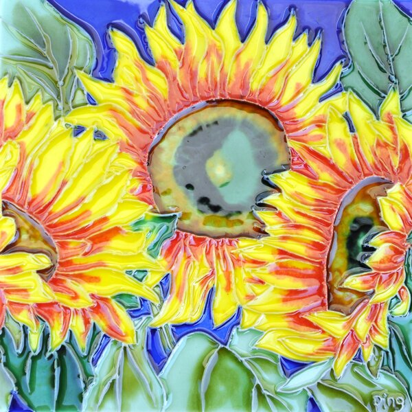 3 Sunflowers And Blue Background Tile Wall Decor by Continental Art Center