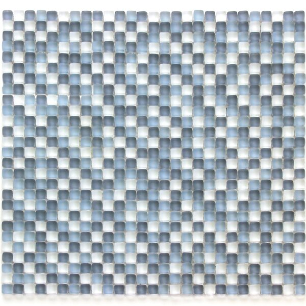Atlantis 0.25 x 0.25 Glass Mosaic Tile in Blue/White by Solistone