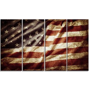 American Flag Contemporary 4 Piece Graphic Art on Wrapped Canvas Set by Design Art