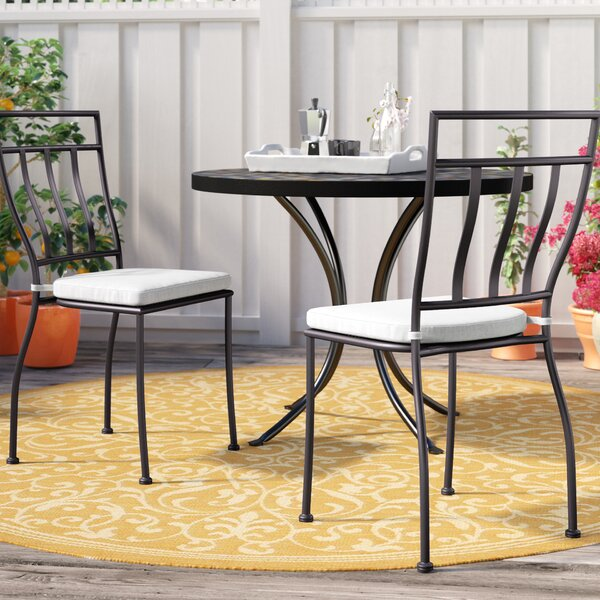 Eastchester Stacking Patio Dining Chair with Cushion (Set of 2) by Three Posts