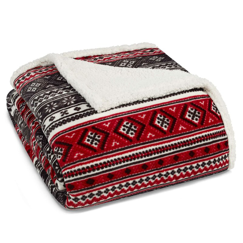 Fair Isle Ultra Plush Sherpa Fleece Throw